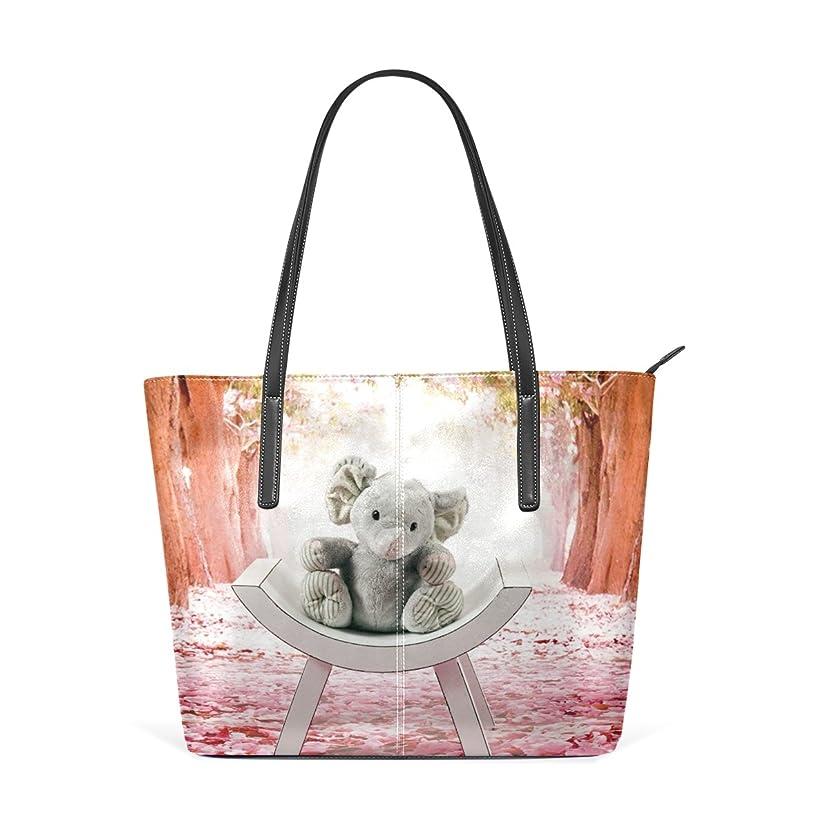 騒乱該当するアルファベットバララ(La Rose) トートバッグ レディース PU レザー a4 通勤 通学 肩掛け 大容量 かわいい 大象 ゾウ 絵 ハンドバッグ 高校生 丈夫 軽量 2way ファスナー付き ママかばん 手提げバッグ ビジネスバッグ
