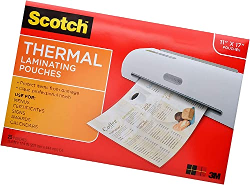 Scotch Thermal Laminating Pouches, 11.45 x 17.48-Inches, 25-Pouches (TP3856-25) 2 Pack