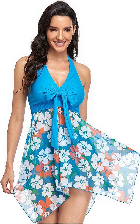Women's Spaghetti Strappy Tankini Swimsuit Two Pieces Swimsuits Set Ruched Top Plus Size Sexy Skirt Split Bikini