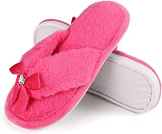 Onmygogo Princess Bejeweled Flip Flops for Girls, Little Big Kid Fuzzy Indoor Slippers with Soft Nonslip Rubber Sole