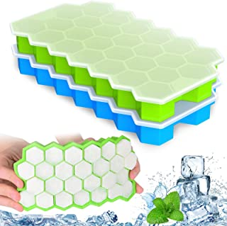 X99 Ice Cube Tray with No-Spill Removable Lid, Easy-Release Silicone 74-Ice Cube Molds BPA Free 2Pcs Covered Ice Cube Tray...