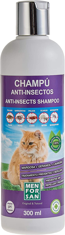 MENFORSAN Champú Anti-Insectos con Margosa, Geraniol Y Lavandino - Gatos 300 ml