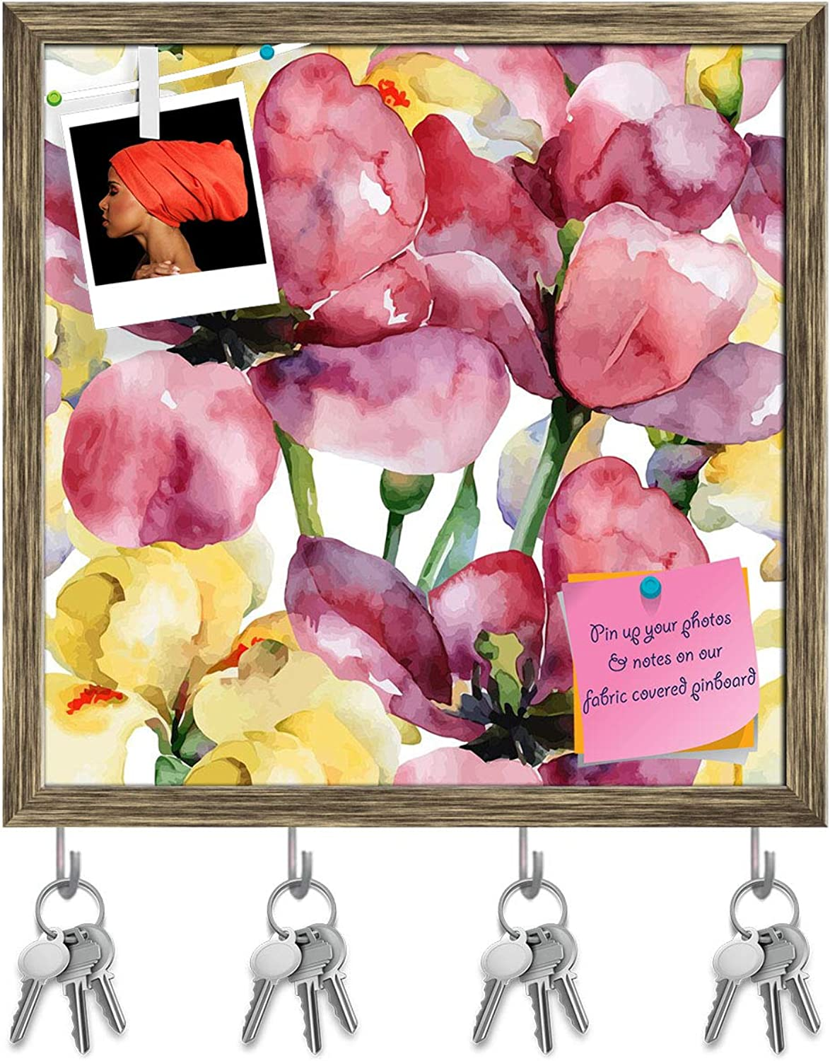 Artzfolio Purple Tulips & Yellow Irises Key Holder Hooks   Notice Pin Board   Antique golden Frame 20 X 20Inch