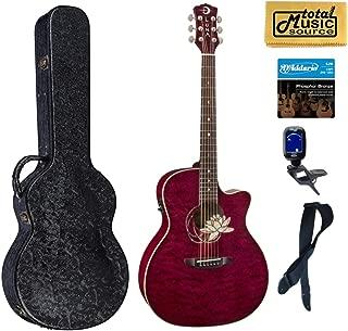 Luna FLO LOT QM Flora Lotus Quilted Maple Cutaway A/E Guitar, Hard Case Bundle