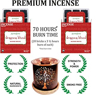 Aromafume Dragons Blood Incense Bricks (2 Trays x 9 Pieces Each) with Tree of Life Exotic Incense Diffuser | Ideal for Positive Vibe Generation, Meditation, Purification, Healing & Rituals