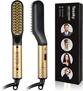 Beard Straightener Brush Hair Combs, Tesoky Hair Straightener Brush Beard Straightening Comb Fast Heated Electric Hot Hair Brush Multifunctional Hair Styler Shaping Tools for Men and Women