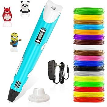 Stylo 3d,Lovebay3d impression pen avec écran LED,compatible avec filament PLA/ABS +18 multicolores,3d professionnel pen conformes aux normes de l'EU,pour enfant,adulte,artiste[stylo cadeau de créatif]