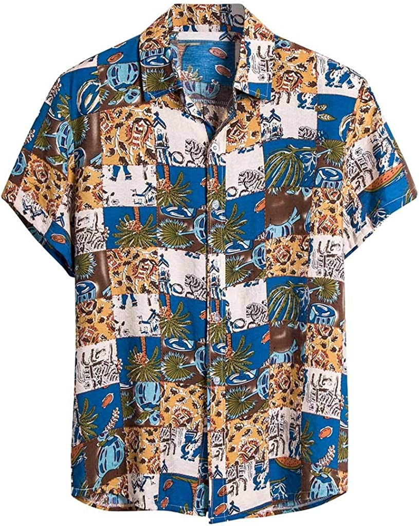 Misaky Mens Palm Trees Shirt Summer Tropical Leaf Print Short Sleeve Button DownTshirt Top for Holiday