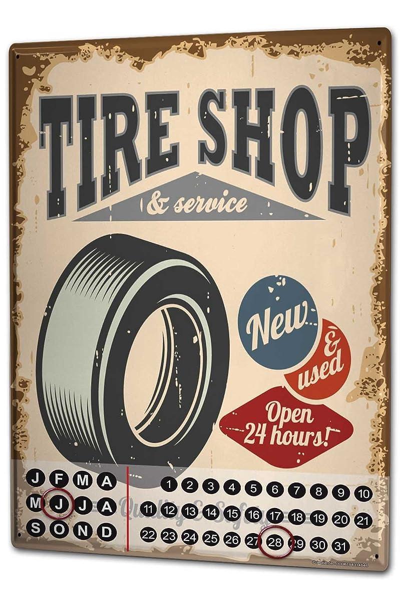 アナログ楽しい旅客カレンダー Perpetual Calendar Garage Tyre shop Tin Metal Magnetic Gas Stations Vintage