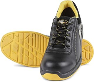 Liberty Warrior Envy Earth Popcorn Insocks Safety Shoes for Men Industrial Steel Toe Light Weight, Black/Yellow - First Ti...