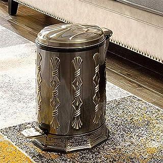 ZXJshyp Metal Dustbin Pedal Garbage Luxury Vintage Stainless Steel Home Kitchen Bathroom Toilet Bedroom Garbage (Capacity:...