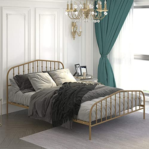 wholesale Giantex sale Metal Bed Frame Queen Size, Metal Bed Platform with new arrival Vintage Headboard & Footboard, Heavy Duty Steel Slat and 9-Leg Support, Mattress Foundation Box Spring Replacement outlet online sale