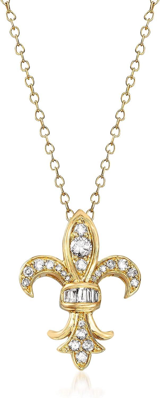 Ross-Simons 0.33 Max 75% OFF ct. t.w. Diamond Outstanding Pendant Necklace Fleur-De-Lis