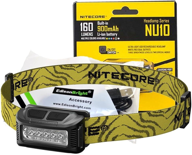 Nitecore NU10 160 Lumen USB rechargeable LED headlamp worklight and EdisonBright brand USB charging cable bundle (Black)