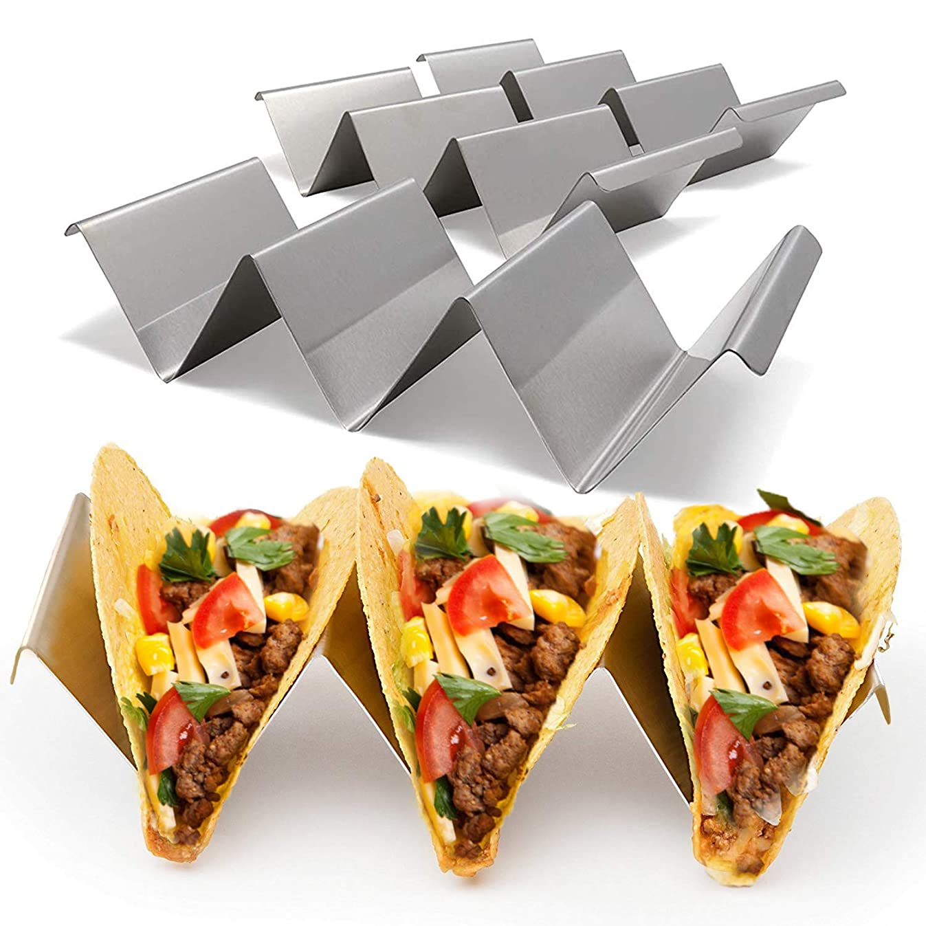 "Taco Holder, Stainless Steel Taco Stand, Taco Truck Tray Style, Rack Holds Up to 3 Tacos Each Oven Safe for Baking, Dishwasher and Grill Safe, 4"" x 8"", by Plunack (4 PACK)"