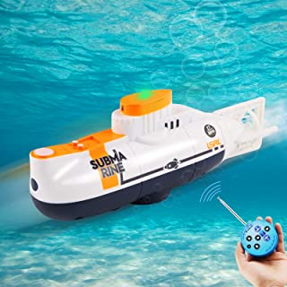 RC Submarine Remote Control Submarine Boat Rechargeable RC Boat Electronic Waterproof Diving Toy for Child Gift Swimming P...