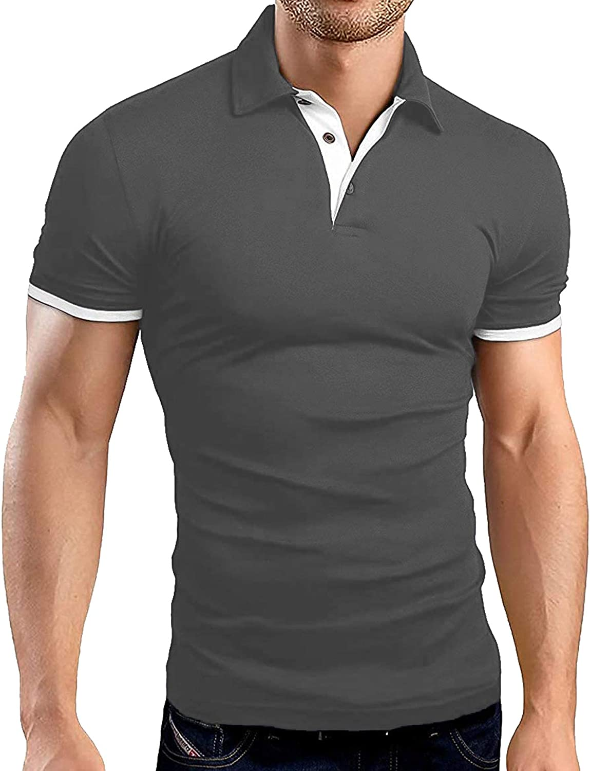 ZITY Mens Polo Shirt Cool Quick-Dry Sweat-Wicking Color Block Short Sleeve Sports Golf Tennis T-Shirt: Clothing
