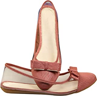 Planet Wear Comfortable and Stylish Women Ballerina Pink Transparent Latest Style Bellies with Designer Bow 36 Euro Size