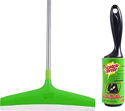 Scotch-Brite Lint Roller with 30 Sheets,Black/White & Plastic Floor Squeegee Wiper -with Telescopic Handle (Green/Silver) Combo