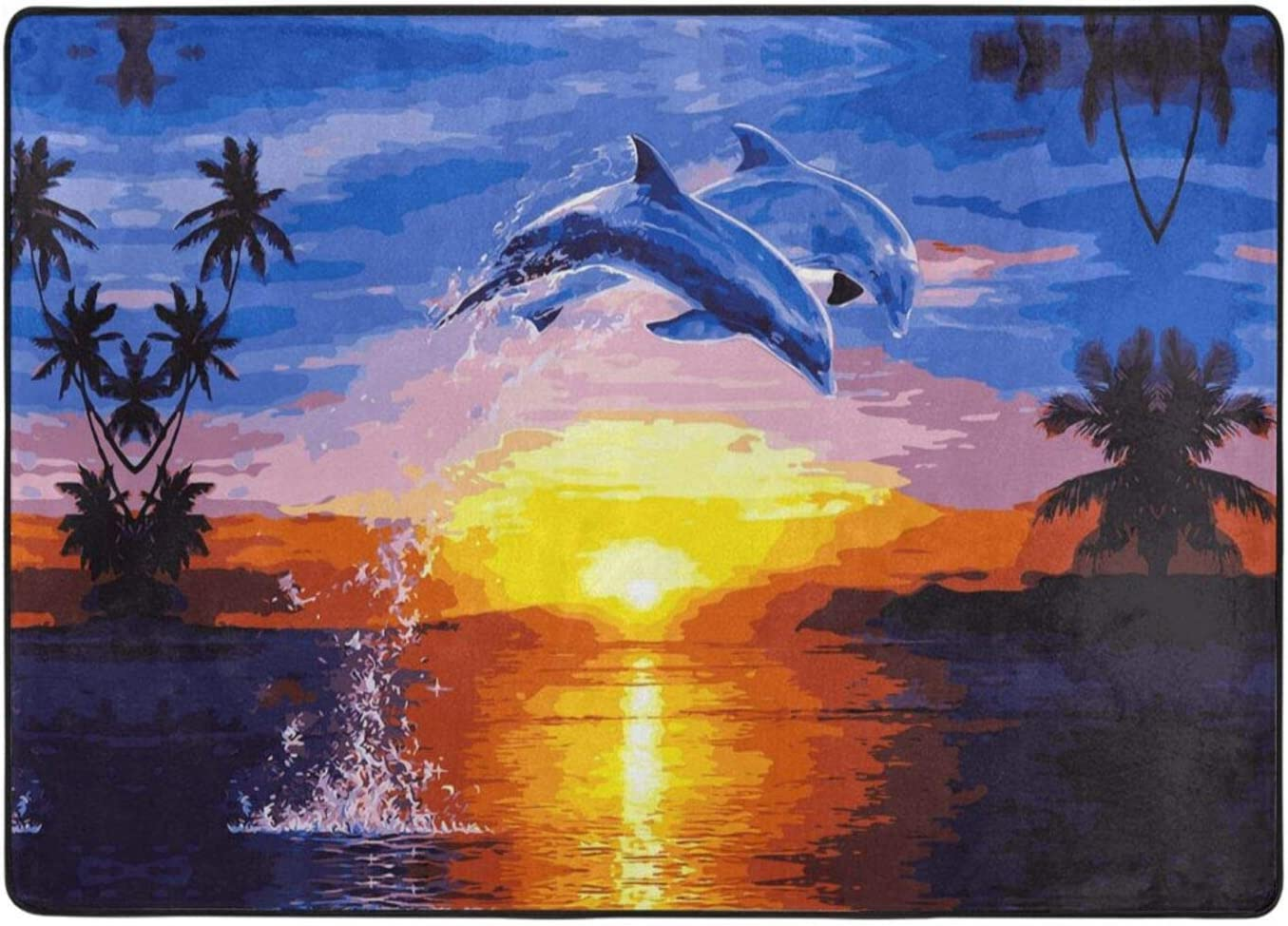 Elegant Dolphin Print Area Rugs Ranking TOP9 Plush Fluffy Indoor Modern Limited time cheap sale