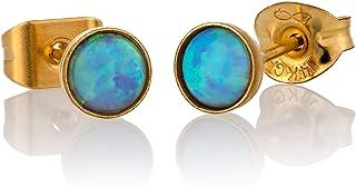 Orecchini a bottone opalino oro riempito 4mm pois blu opale piccoli per le donne