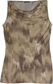 Tahari Elie Woman's Beige Sleeveless Rayon Camouflage Cowl Neck Basic T-Shirt XS