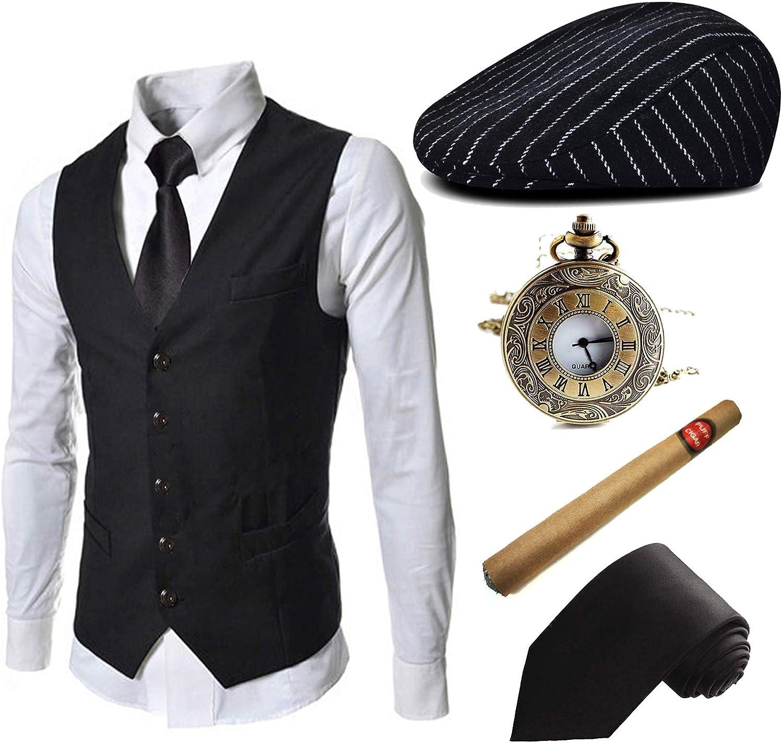 1920s Mens Costume Accessories Set - Gatsby Ivy Newsboy Hat Caps,1920s Gangster Vest,Plastic Cigar,Tie