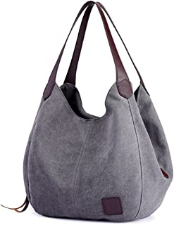 DOURR Women's Multi-pocket Shoulder Bag Fashion Cotton Canvas Handbag Tote Purse