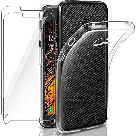 Funda para Samsung Galaxy Xcover 4/4S Silicona Transparente + [2-Pack] Protectores de Pantalla in Cristal Templado, Ultra Fina Carcasa Delgado Suave Flexible TPU Bumper Case - Claro