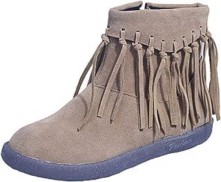 HLDJ Tassel Martin Botas Redondo Puntero Lateral Cremallera Zapatos De Gamuza Casual Trabajo Compras Tobillo Botín,A,US5.5...