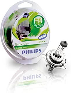 Philips H4 LongLife EcoVision Car Halogen Headlight Bulbs Set of Two (2x bulbs) 12342LLECOS2