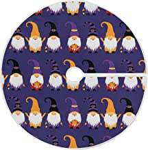 Dussdil Halloween Gnomes Christmas Tree Skirt Pumpkins Witch 35.4 Inches Xmas Tree Skirt Floor Door Mat Decorations for Ho...