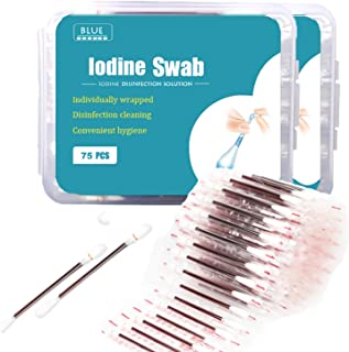 150 Individually Wrapped- Iodine Q Tips Swabs Solution Filled| First Aid Pads for Nasal Ears Bruise Travel