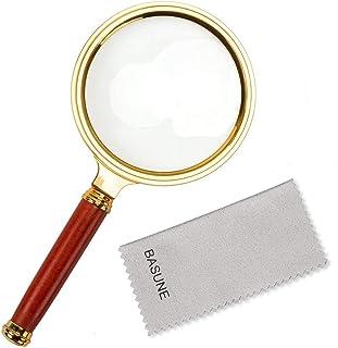 ذره بین دستی BASUNE 10X ، ذره بین خواندنی عینک Loupe 10X با دسته گل چوب برای خواندن کتاب و روزنامه ، مشاهده حشرات و سرگرمی ها ، علوم کلاس (قاب پلاستیکی)