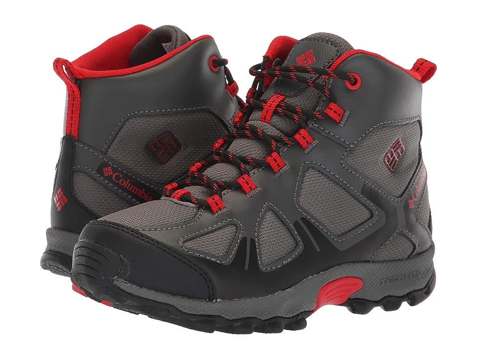 Columbia Kids PeakFreaktm Xcrsn Mid Waterproof (Little Kid/Big Kid) (City Grey/Bright Red) Boys Shoes