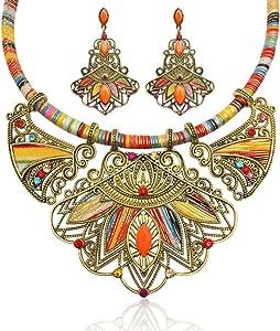 PRETYZOOM 3 Pezzi di Gioielli Etnici Set Bavaglino Collana Orecchini Vintage Gioielli Bohémien Dichiarazione per Le Donne Signore