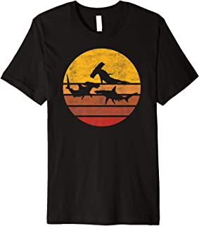 Vintage Sunset Trendy Silhouette Hammerhead Shark Premium T-Shirt
