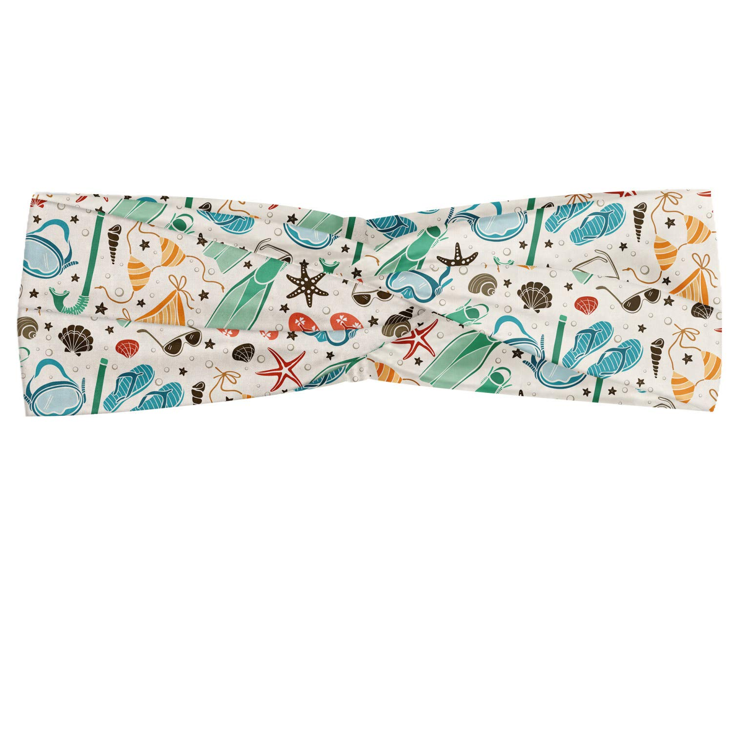Ambesonne Summer Headband, Continuous Beach Accessories in Vintage Colors Swimsuits Shells Flippers, Elastic and Soft Women's Bandana for Sports and Everyday Use, Ivory Multicolor