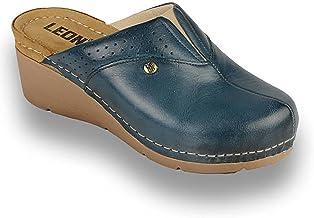 LEON 1002 Zuecos Zapatos Zapatillas de Cuero para Mujer