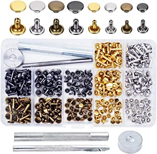 240 Sets Leather Rivets, EMiEN Double Cap Rivet Tubular Metal Studs with Fixing Tools and Storage Box for DIY Craft/Clothes/Shoes/Bags/Belts Repair and Decoration, 2 Sizes 4 Colors (gold, silver, bron