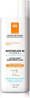 La Roche-Posay Anthelios Mineral Ultra-Light Fluid Broad Spectrum SPF 50, Face Sunscreen with Zinc Oxide and Titanium Diox...