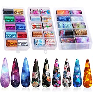 30 Color Nail Foil Transfer Sticker, Kissbuty Holographic Flower Nail Art Stickers Tips Wraps Foil Transfer Adhesive Glitters Acrylic DIY Nail Decoration, 3 Boxes (Flowers Glitters Starry Sky)