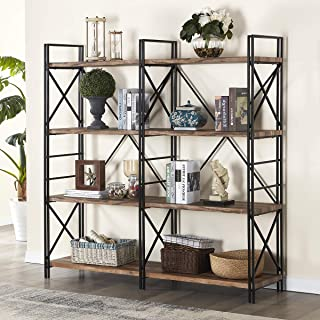 Homissue 4 Shelf Industrial Double Bookcase and Book Shelves, Storage Rack Display Stand, Etagere Bookshelf with Open 8 Shelf, Retro Brown, 64.2-Inch Height