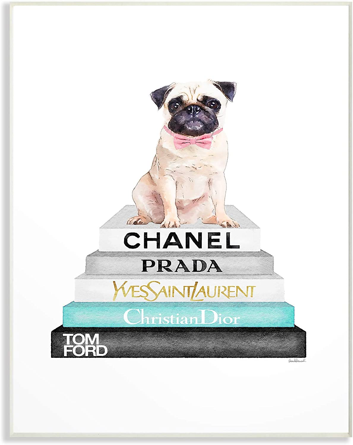 The Stupell Home Decor Grey Teal and Black Fashion Bookstack with Pug Wall Plaque Art, Multi-color