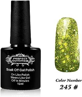 Perfect Summer UV LED Soak Off Gel Nail Polish 10ml Nail Lacquer, Shiny Snowflake Color #245 Glitter Green Onion
