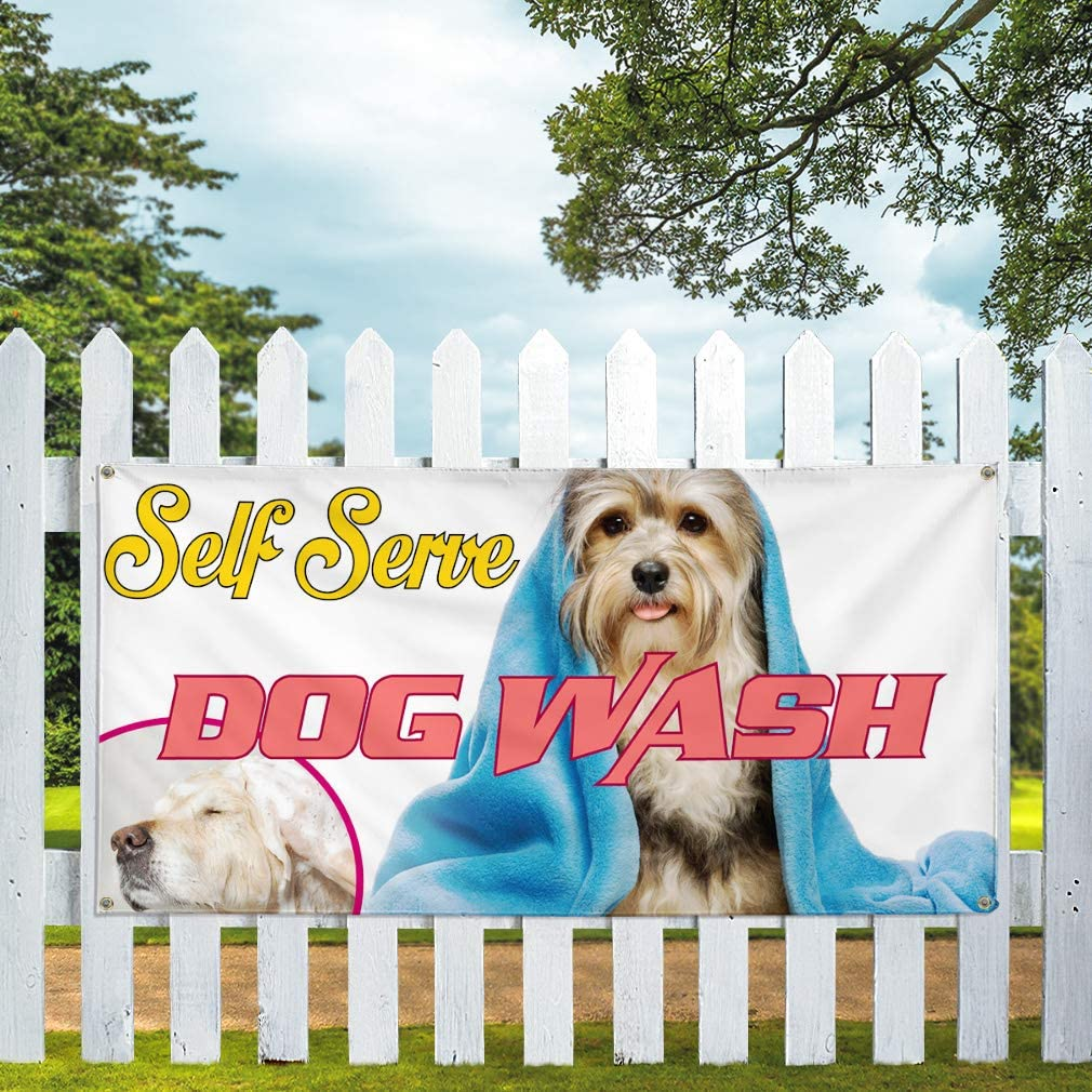 Vinyl Banner Multiple Sizes Self Serve Dog Wash Advertising Printing A Business Banners Outdoor Weatherproof Industrial Yard Signs White 10 Grommets 60x144Inches