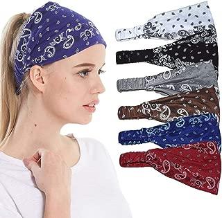 Headbands for Women Sweat Wicking Scarf Bandana Elastic Headband Wrap Pack of 6
