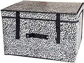 JUAN Laundry Basket Stacking Plastic Storage Box And Lid/for Bottom Storage. (Color : Blue Leopard Print, Size : 80 * 60 *...