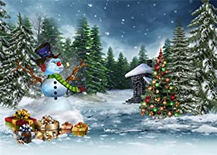 Leowefowa 7X5FT Vinyl Photography Backdrop Christmas Decoration Tree Pine Forest Balls Gifts Snowman Falling Snowflakes Nature Winter Scene Happy New Year Background Baby Kids Lover Photo Studio Props