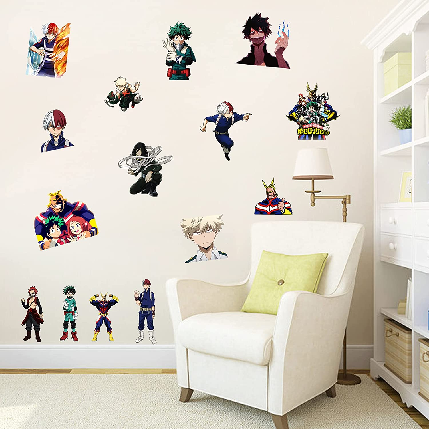 My Hero Academia Wall Decals 16x24in Anime Stickers Manga Fans Gifts for Girls and Boys Room Decor Cool Wall Graffiti for Dorm Living Room Kitchen Bedroom
